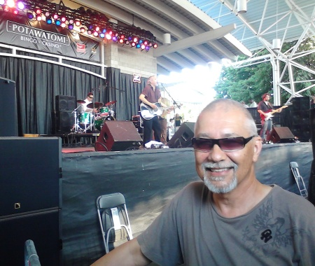Tanin dutifully overseeing soundcheck during a Summerfest appearance of Sam Llanas. Photo courtesy Gary Tanin