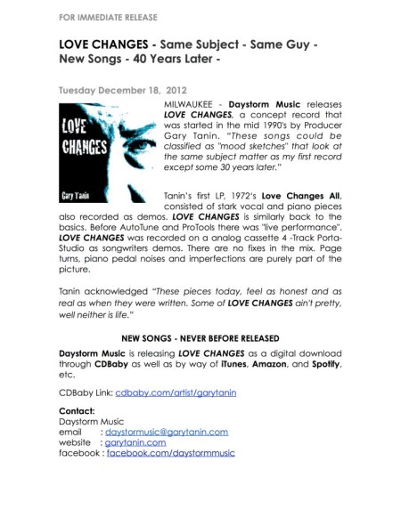 "A copy of the press release sent out about Tanin's upcoming CD release ""Love Changes"". Review upcoming on BouleBlog next! Image courtesy Daystorm Music"