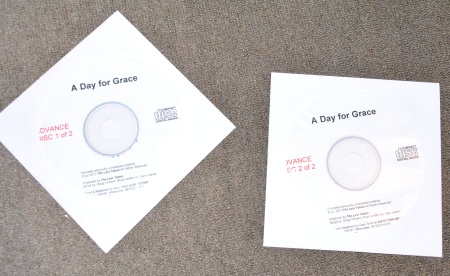Advance discs of the audio portion of the DVDs that will be A Day For Grace. Discs courtesy Doug Vincent.