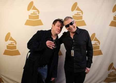 Tanin shares cheers with Classical engineer and producer Rob Waller.  Photo courtesy Gary Tanin