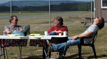 Clarkson, left, May, center, and Hammond, right.  The original Top Gear brigade.