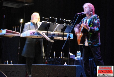 Jon Anderson (right) and Rick Wakeman (left) share the stage at the Sherman Theater, share some Yes songs, and share some laughs.  Photo by Lynn Vala