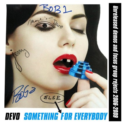 Bastardizing the cover for Something For Everybody, Devo once again poke fun at themselves while delivering cutting room floor songs. Cover photo courtesy of Devo Obsesso